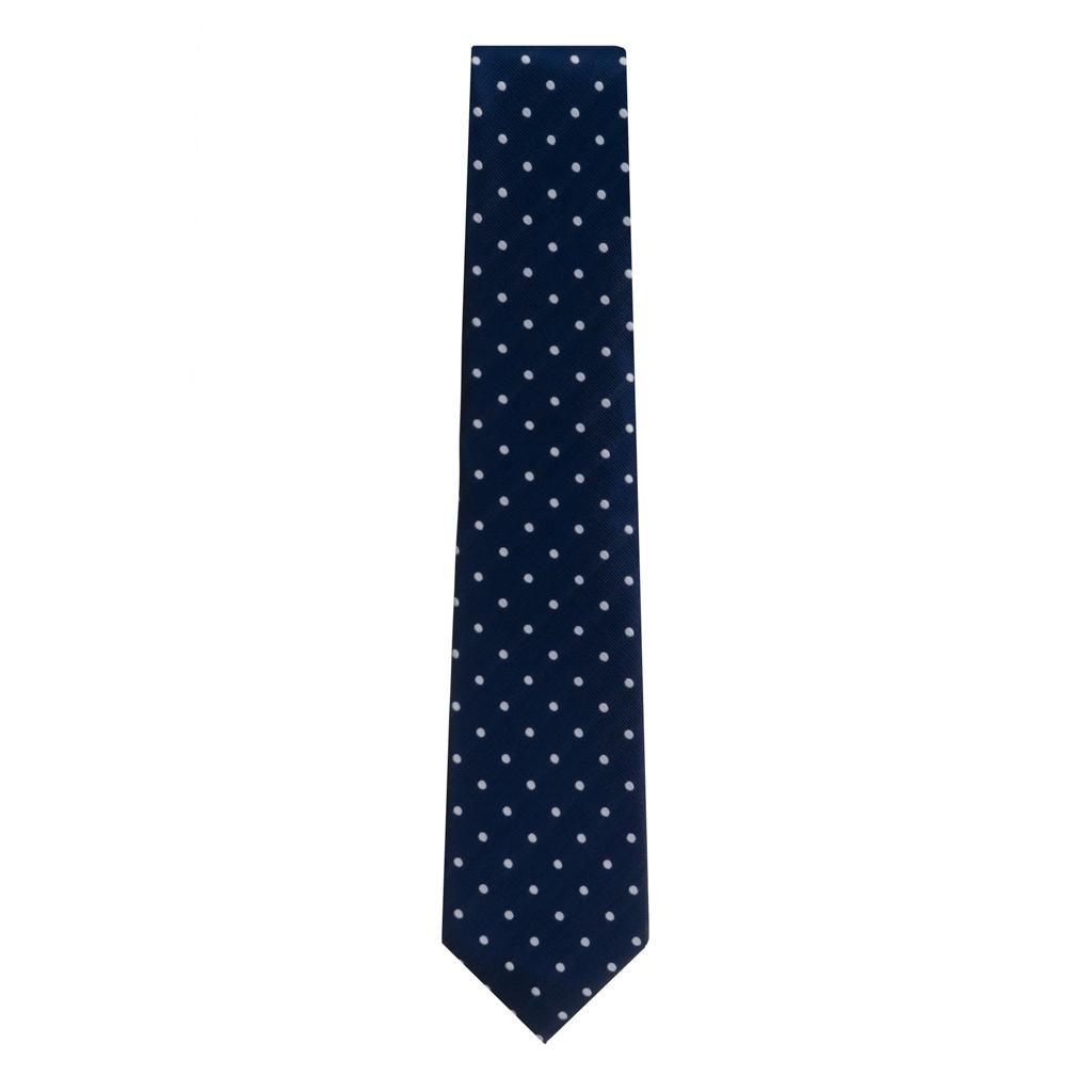 Necktie in Navy & White Polka Dot Pattern
