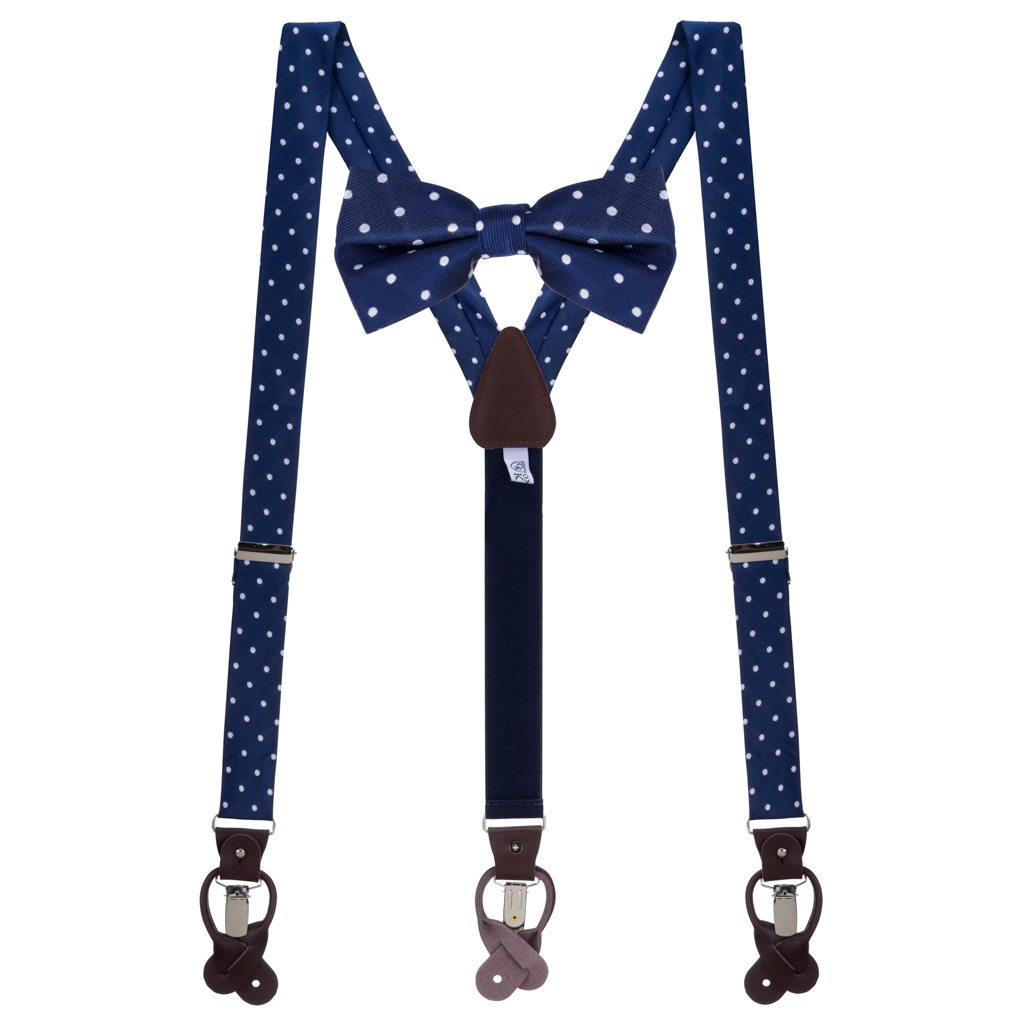 Bow Tie and Suspender Set in Navy & White Polka Dot Pattern