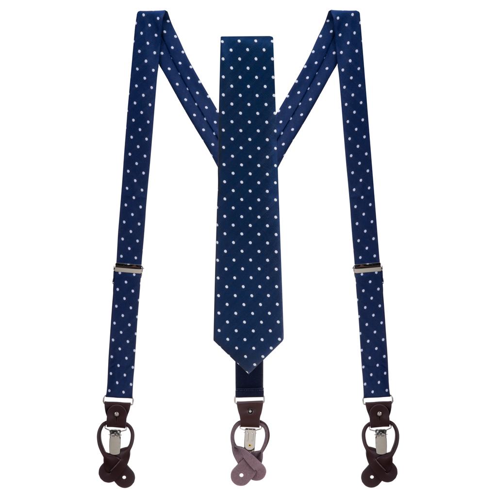 Necktie and Suspender Set in Navy & White Polka Dot Pattern