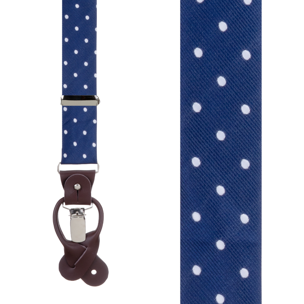 Twill Suspenders in Navy & White Polka Dot Pattern - Front View