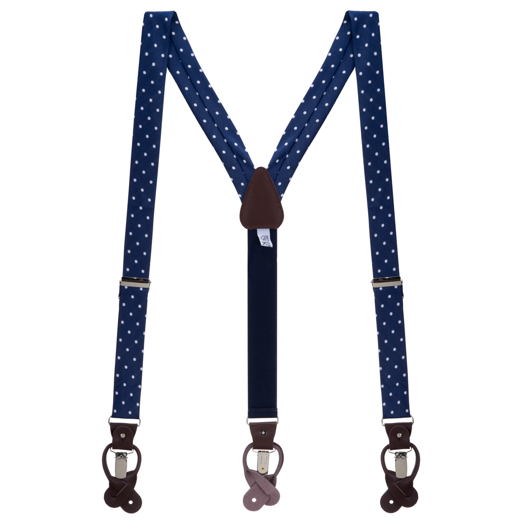 Twill Suspenders in Navy & White Polka Dot Pattern - Full View