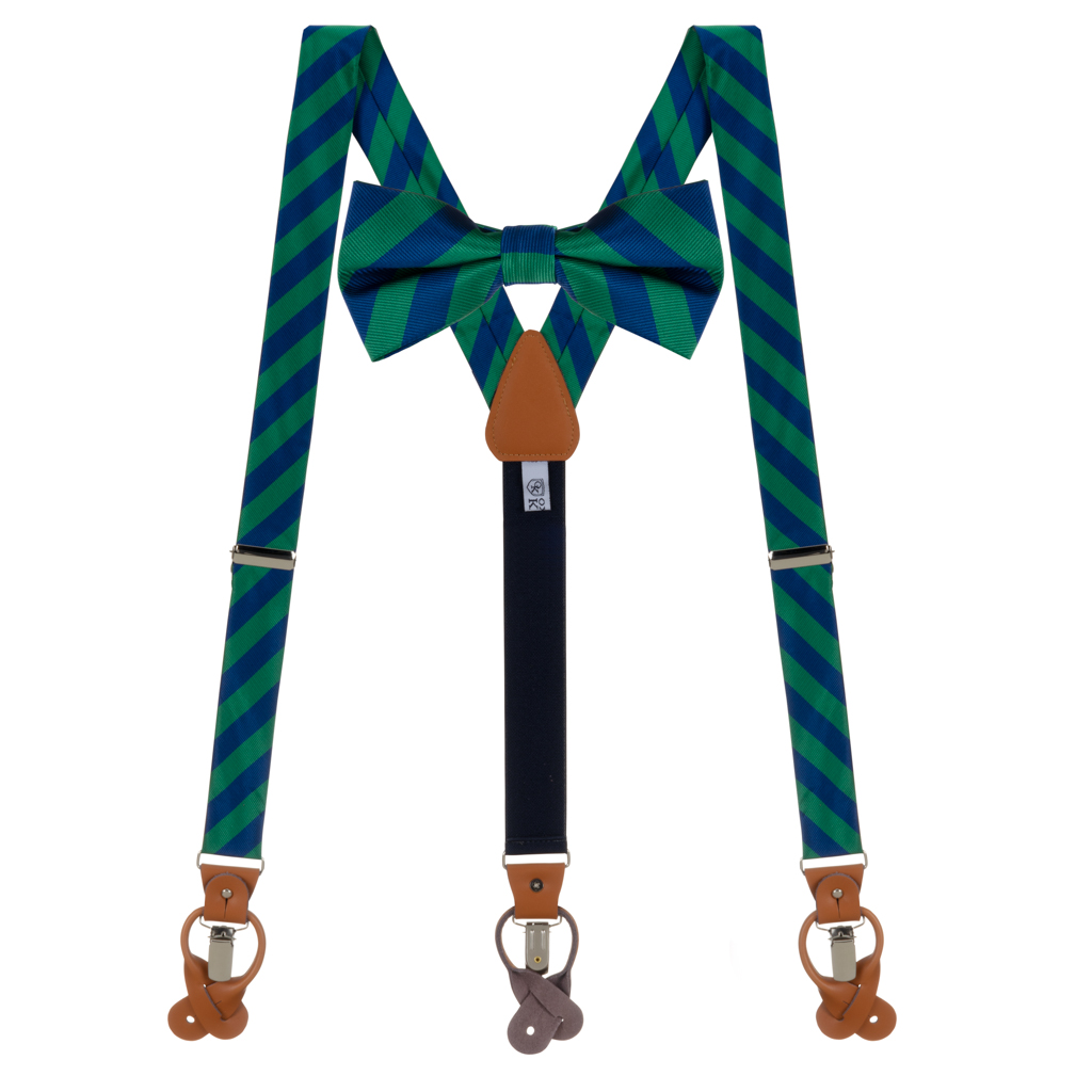 Bow Tie and Suspender Set in Navy & Lime Bold Stripe