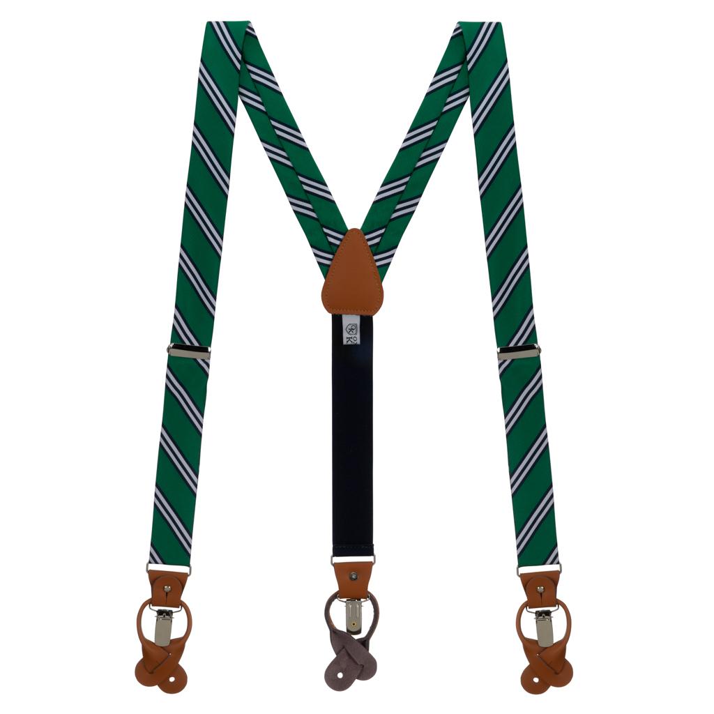 Suspenders in Kelly & Navy Multi Stripe - Full View