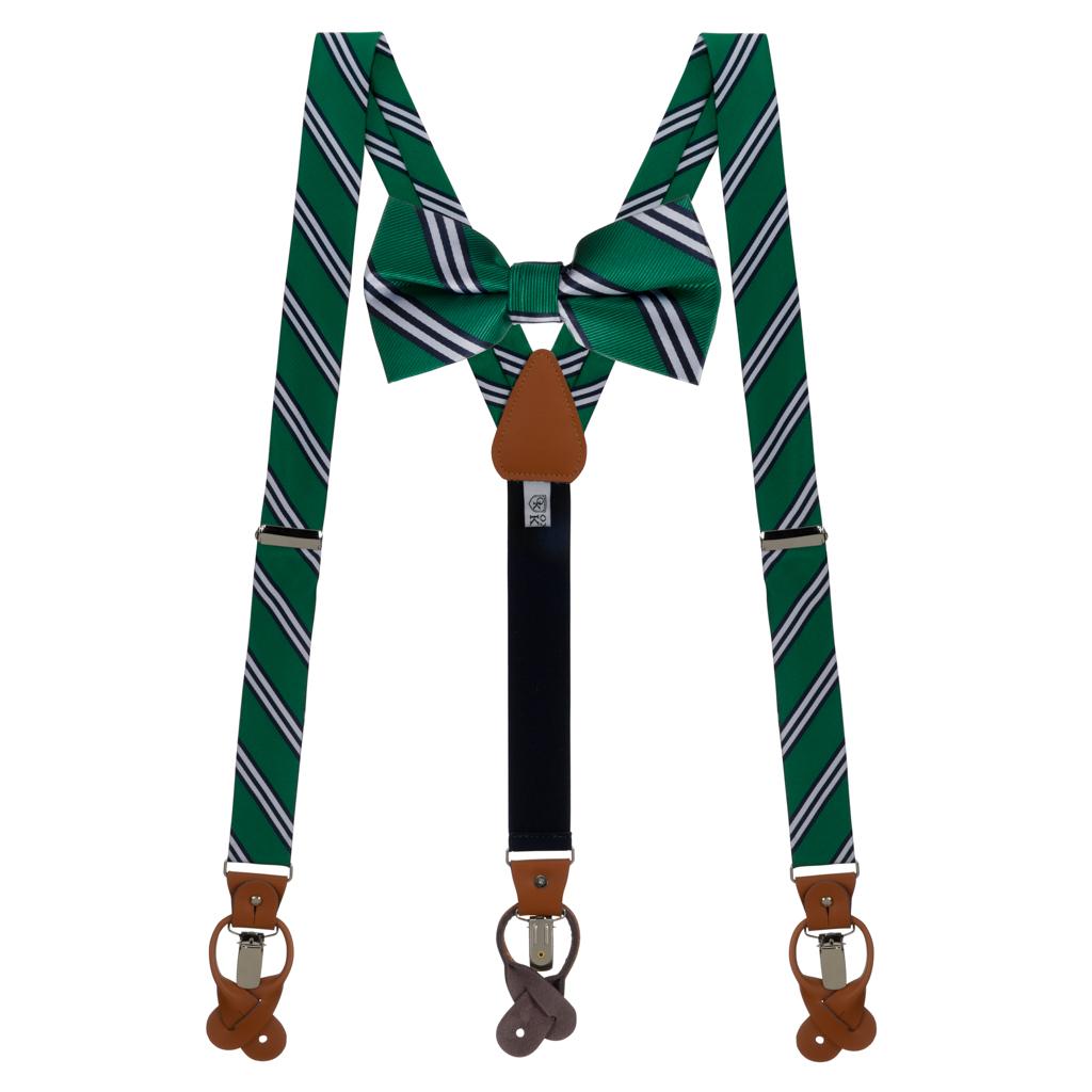 Bow Tie and Suspenders Set in Kelly & Navy Multi Stripe
