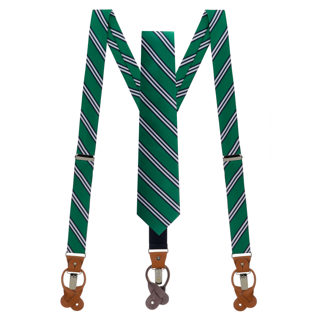 Necktie and Suspenders Set in Kelly & Navy Multi Stripe