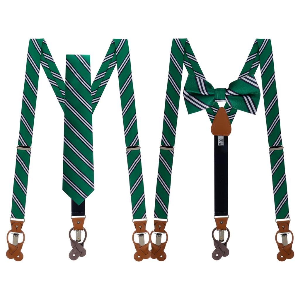Tie and Suspenders Sets in Kelly & Navy Multi Stripe - Both Options