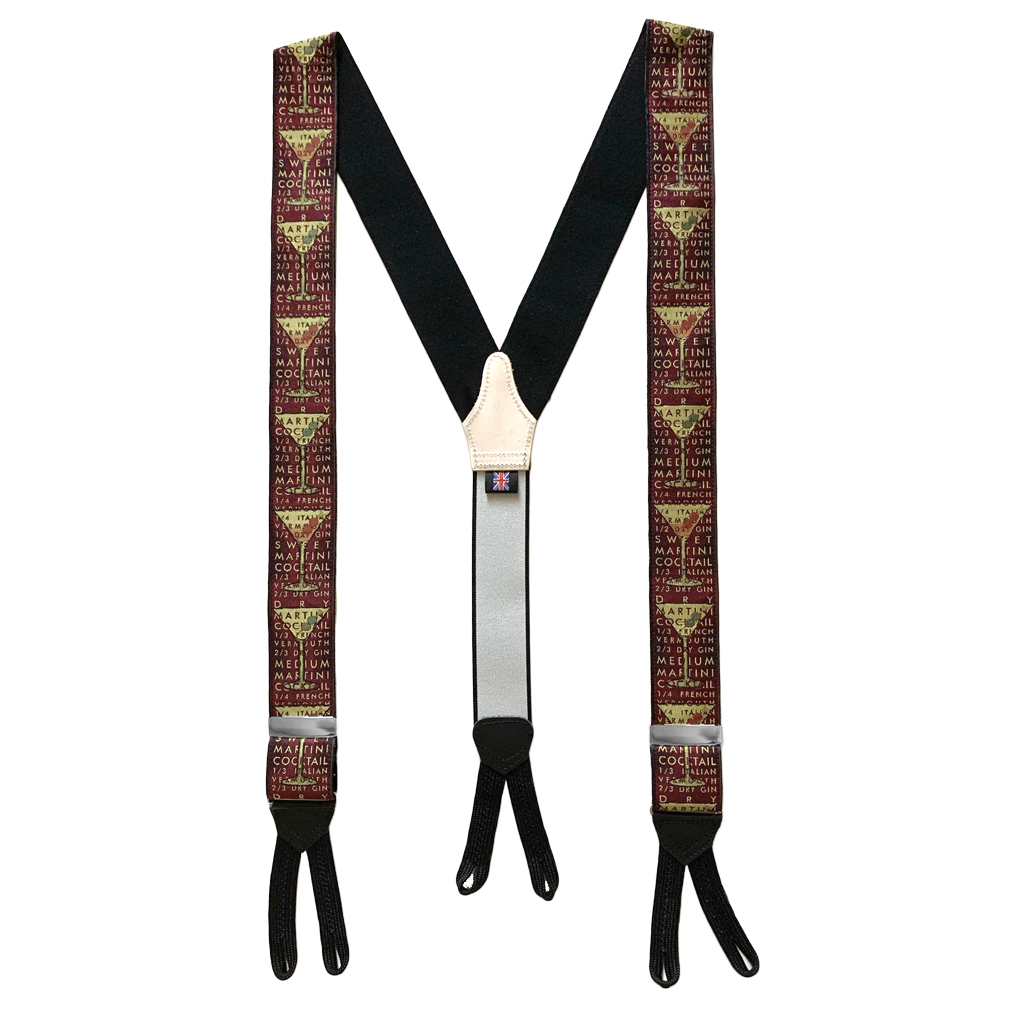 RUBY COCKTAIL Limited Edition Handwoven Silk Braces - Full View