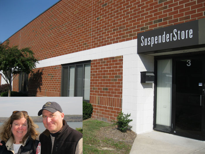 David and Kathy with exterior of SuspenderStore storefront