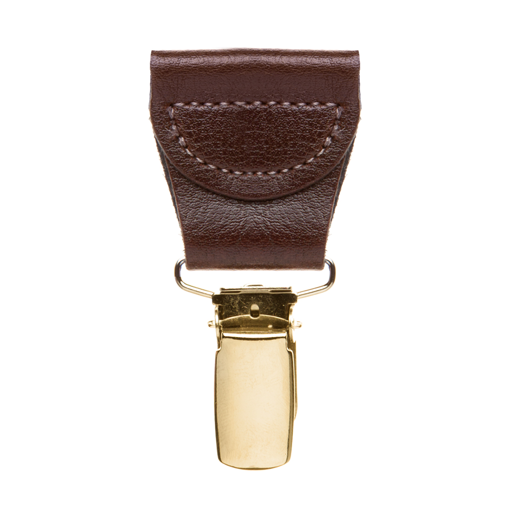 Detailed view of brown leather suspender drop clips