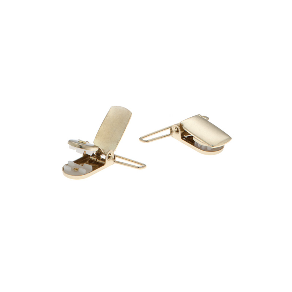 Detailed view of brass suspender finger clips