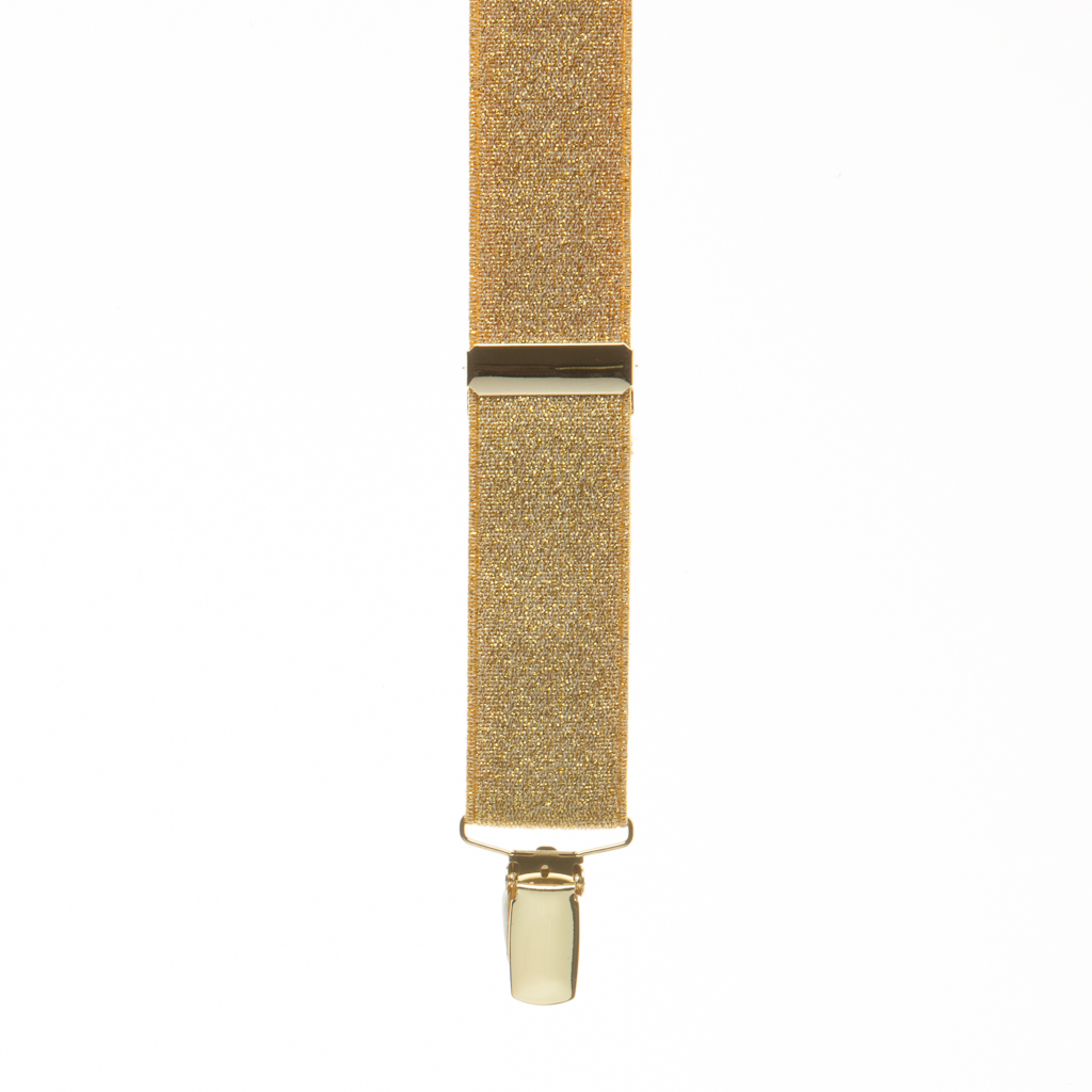 Front view of gold glitter suspender