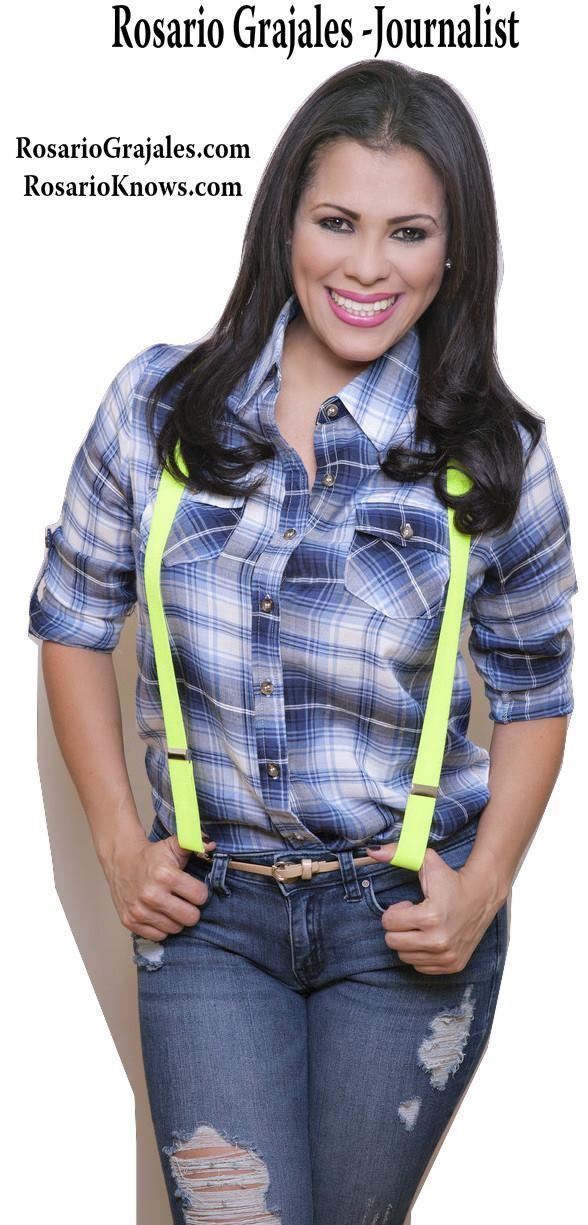Rosario Grajales modelling brightly colored suspenders