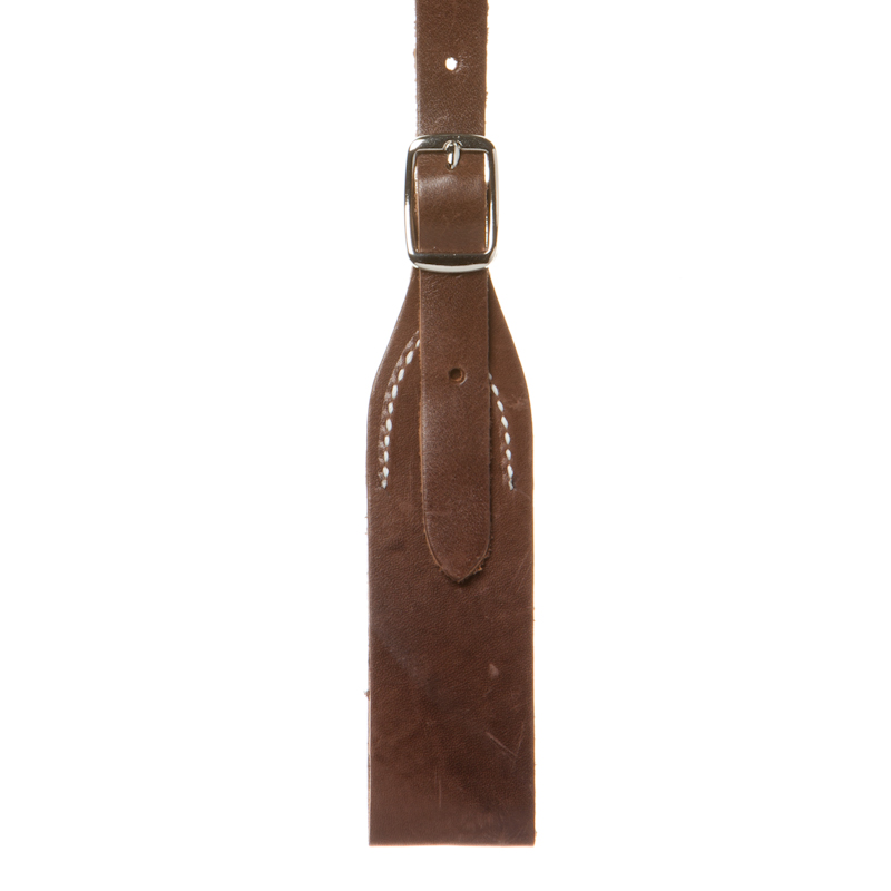 Detailed view of brown leather Rugged Comfort belt-loop style Western suspenders