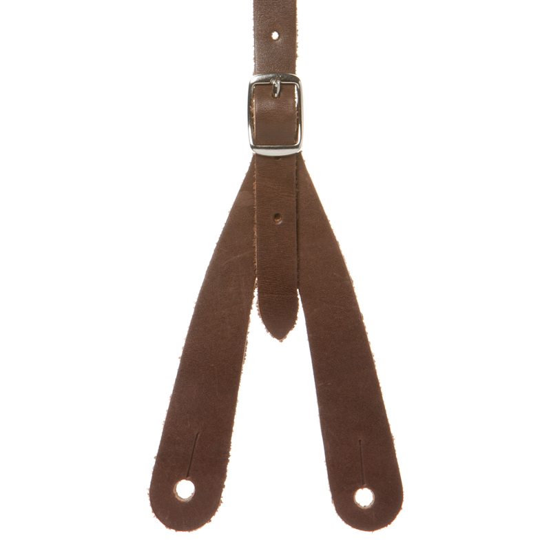 Detailed view of brown leather Rugged Comfort suspenders