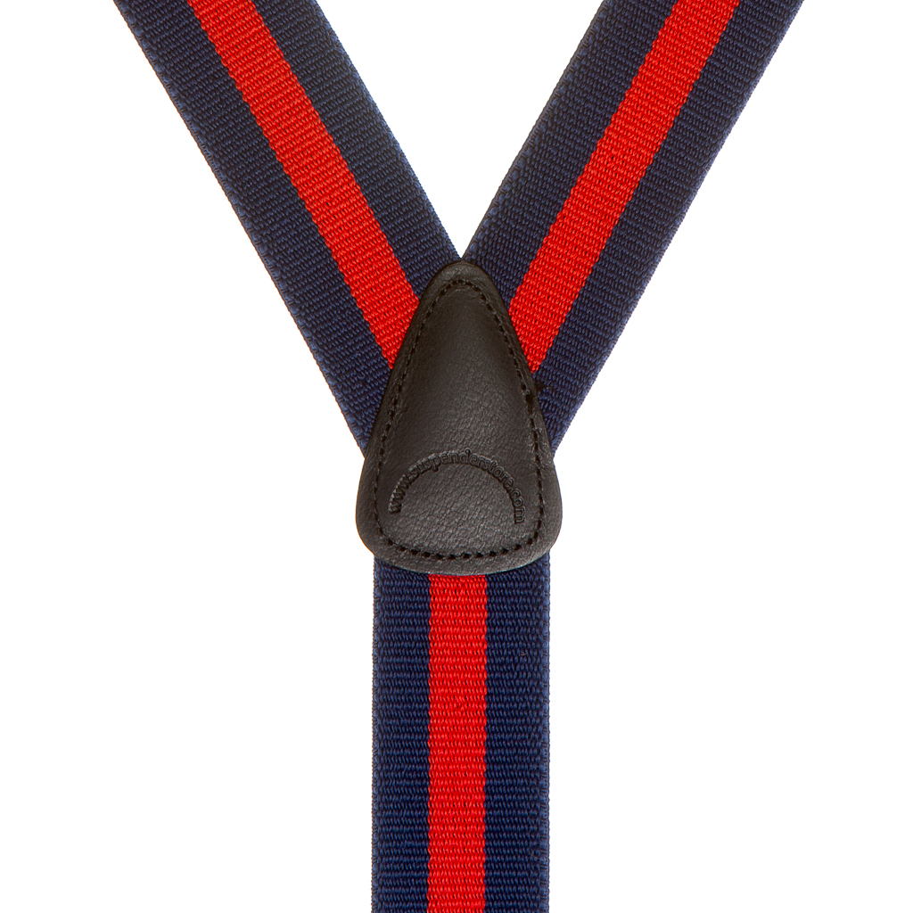 Rear view of navy and red Y-back suspenders with leather crosspatch