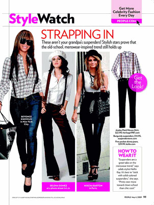 Models wearing suspenders in StyleWatch magazine