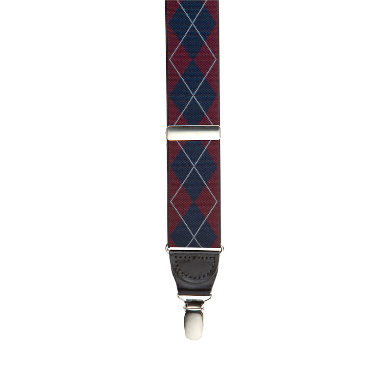 Front view of red and purple plaid suspender
