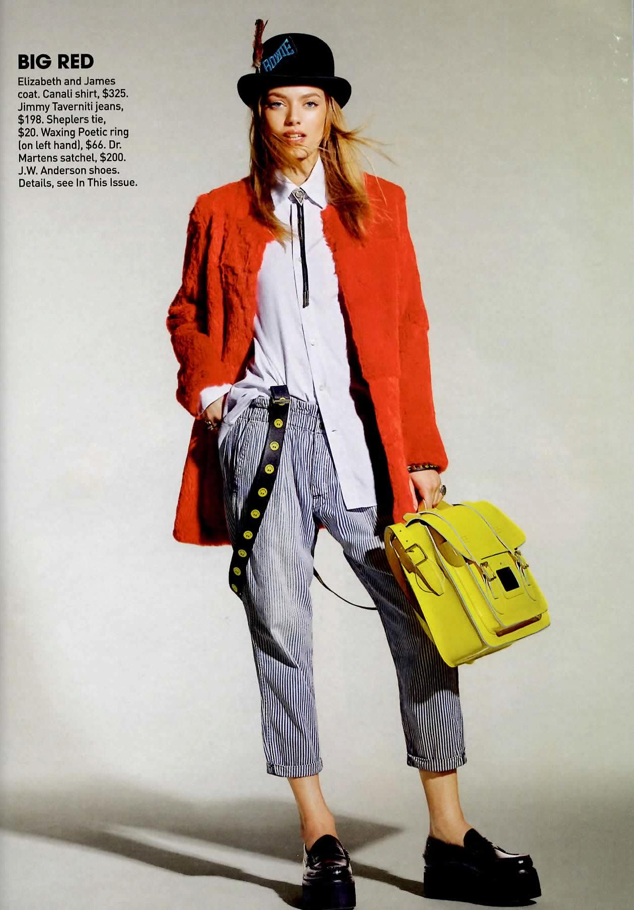 Model wearing smiley face suspenders in Teen Vogue magazine