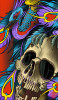 Dust Bowl by 2 Cents Skull and Peacock Canvas Giclee Tattoo Art Print