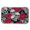 Skull and Roses Rectangle Metal Storage Tin Stash Box