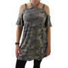 Camo Cold Shoulder Tunic Dress