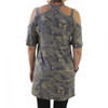 Camo Cold Shoulder Tunic Dress back view
