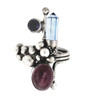 London blue Topaz point, Amethyst and pink Tourmaline cabochon sterling silver ring size 9.