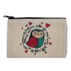 Love Bird Owl Small Linen Makeup Bag