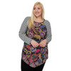 Plus Size Sugar Skull Print Tunic Top front view
