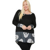 Plus Size Long Sleeve Tunic with Skull Print