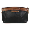 Black Leather Cosmetic Make Up Bag Pouch