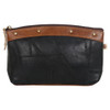 Black Leather Cosmetic Make Up Bag Pouch back view
