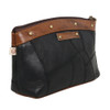 Black Leather Cosmetic Make Up Bag Pouch front view