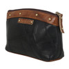 Black Leather Cosmetic Make Up Bag Pouch side view