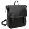 Vegan Leather Carolina Black Backpack Purse front view