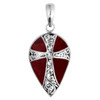 Sterling Silver Pear Shape Coral Pendant With Cross Design