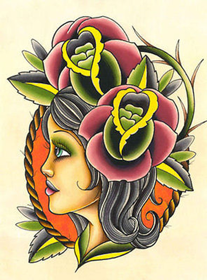 Andre Perales Till the End Tattoo Art Print Flowers Wall Hanging Picture