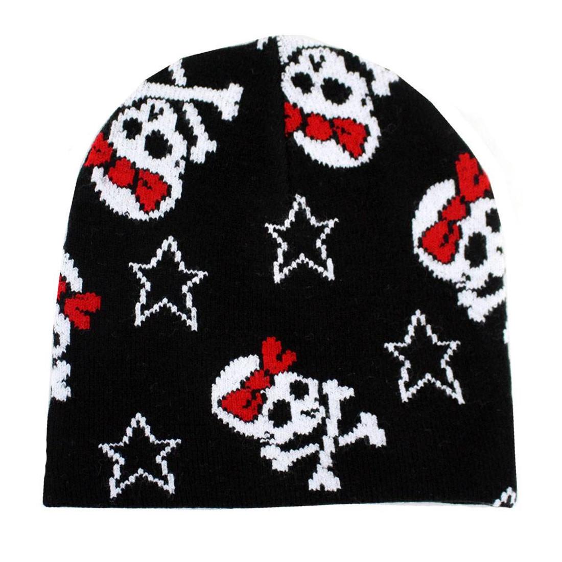 15be835e3c7 Black Beanie Skull   Crossbones with Red Bow Stars Knit Hat Snowboard  Headgear