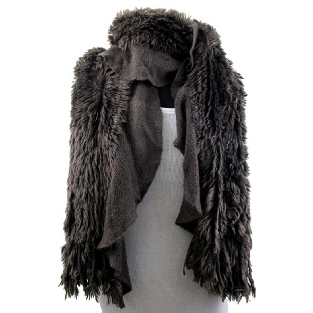 Brown scarf.