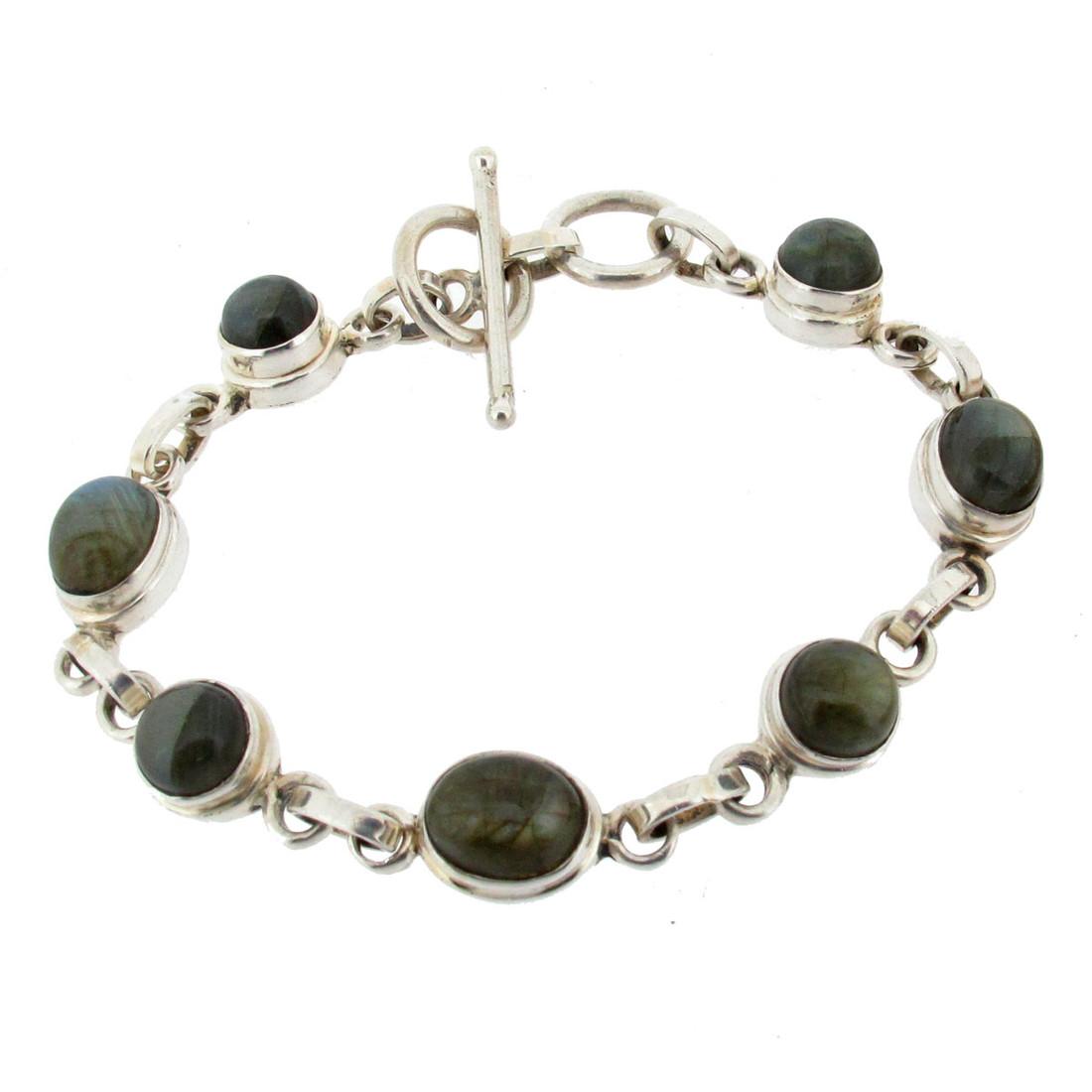 Labradorite sterling silver bracelet with toggle.