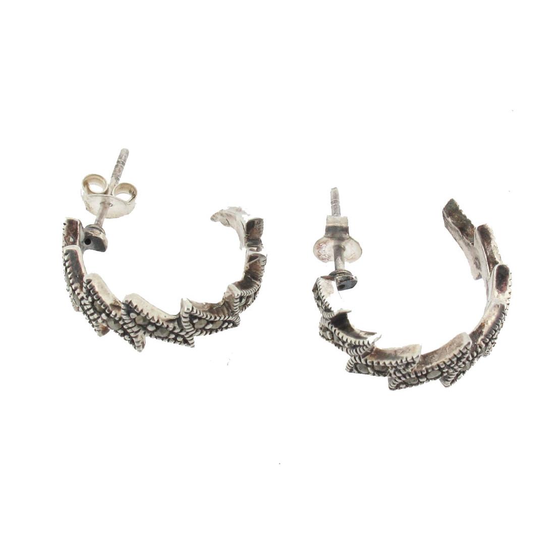 Side view of Marcasite hoop earrings.