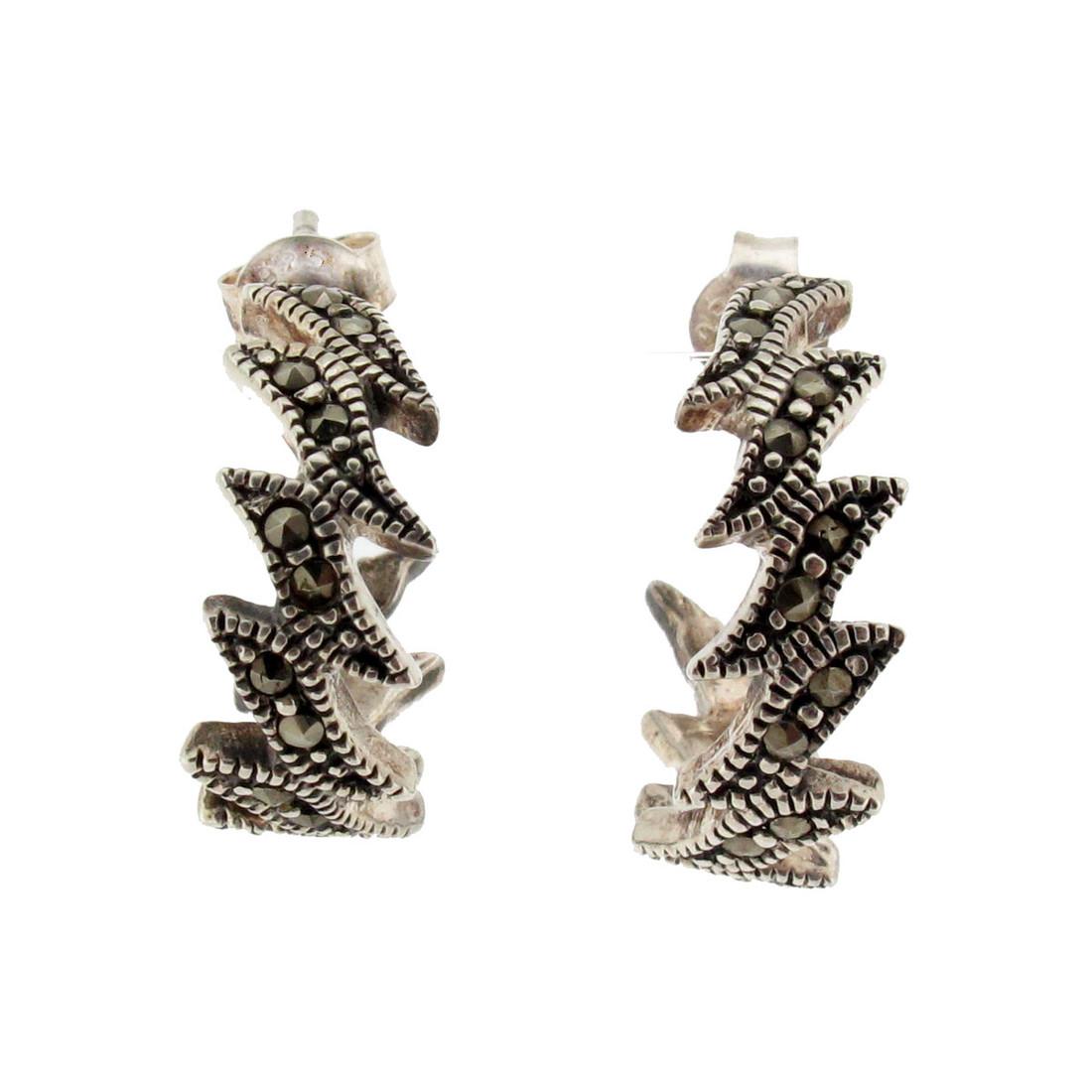Front view of Marcasite hoop earrings.