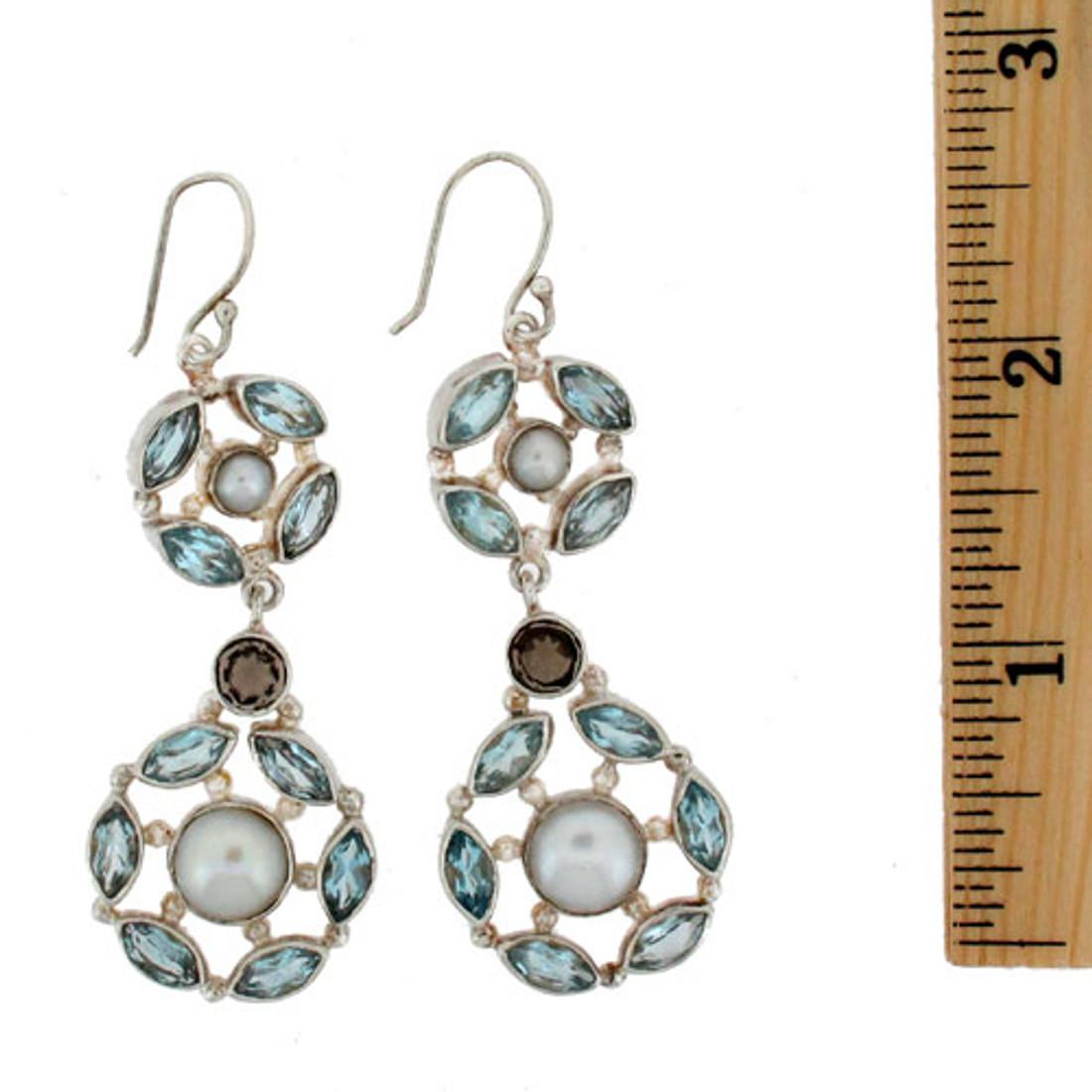 Large Blue Topaz, Pearl sterling silver dangle earrings.