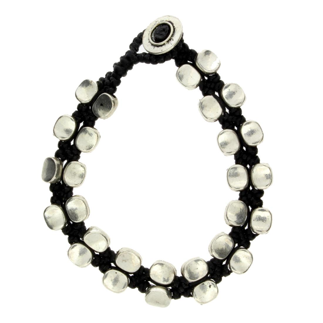 Oval Silver Alloy Beaded Bracelet Wrist Jewelry Waxed Linen Wristband Black