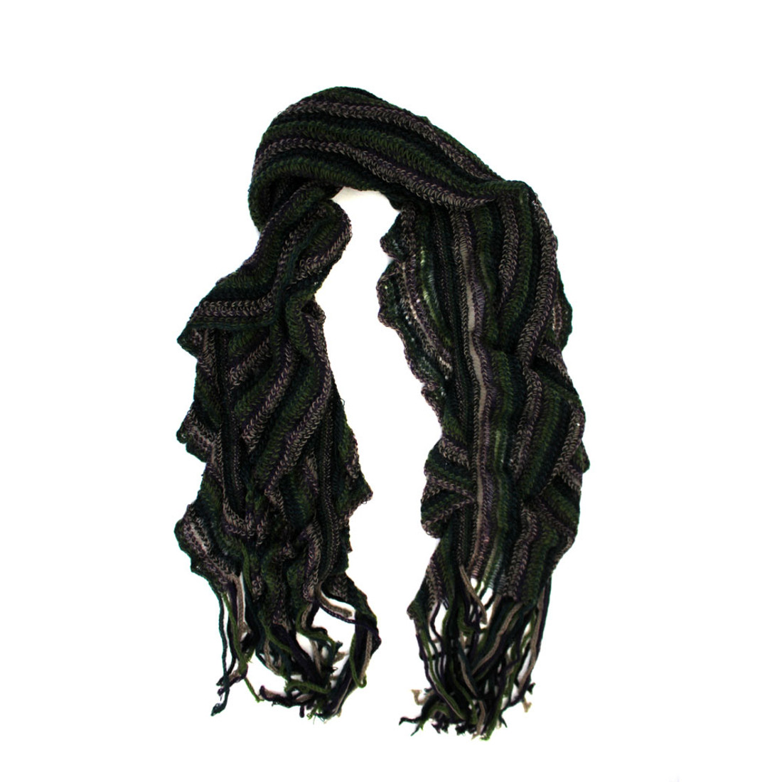 Olive striped scarf.