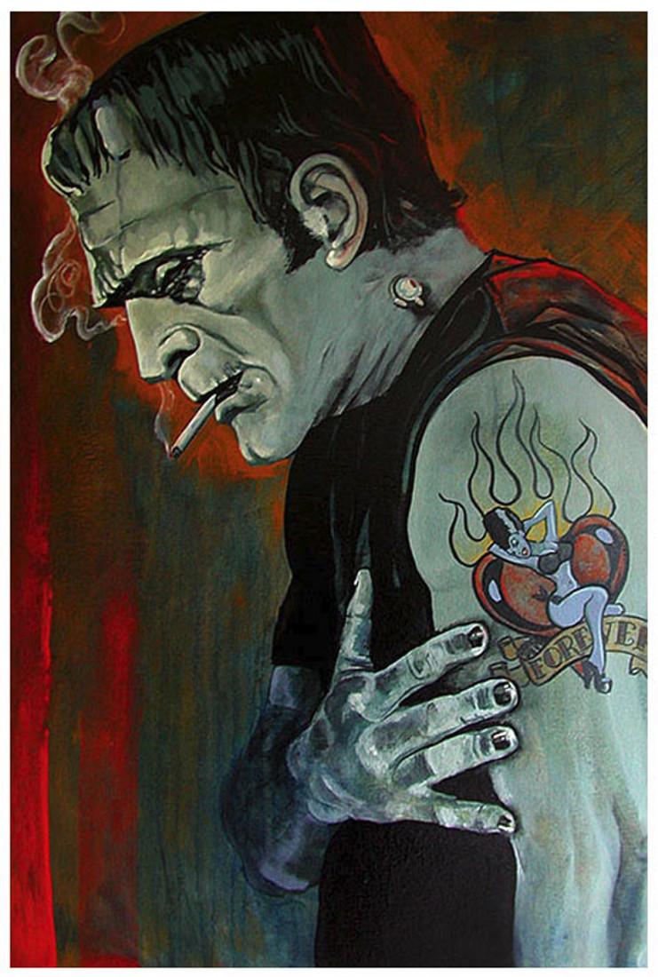 28becfe4d5ef Broken Hearted by Mike Bell Tattoo Art Print Frankenstein Love Lost Monster