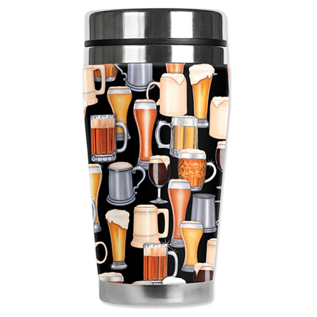 Beer glass print neoprene travel mug.