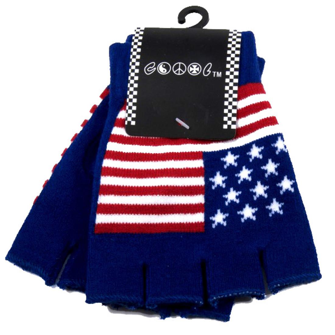 Knitted Red White & Blue American Flag Fingerless Gloves