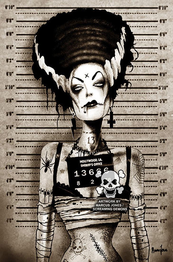 Bride of Frankenstein Mugshot by Marcus Jones Screaming Demons Canvas Giclee Art Print