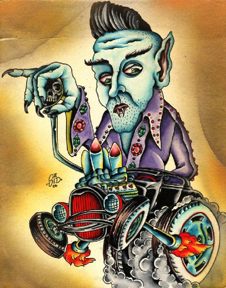fa91ed7e268c Even Nosferatu Like Elvis by Sid Stankovits Tattoo Canvas Giclee Monster Art